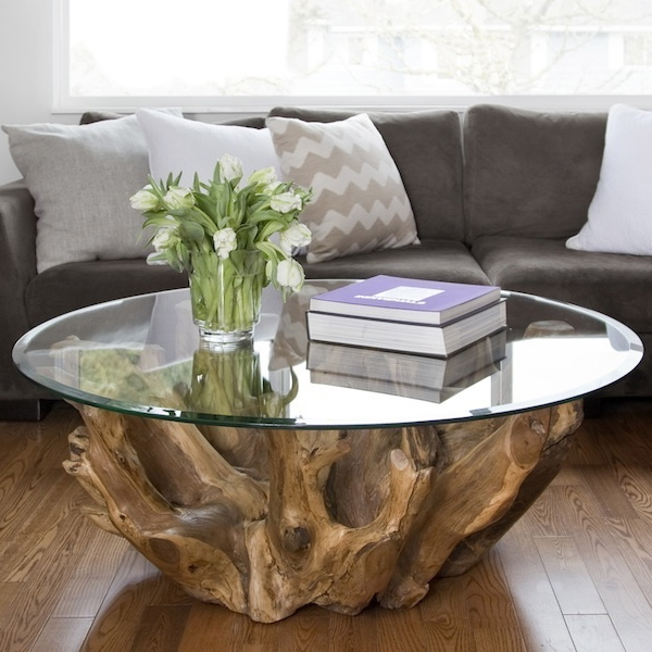 Natura Round Root Coffee Table Mikaza Meubles Modernes Montreal Modern Furniture Ottawa