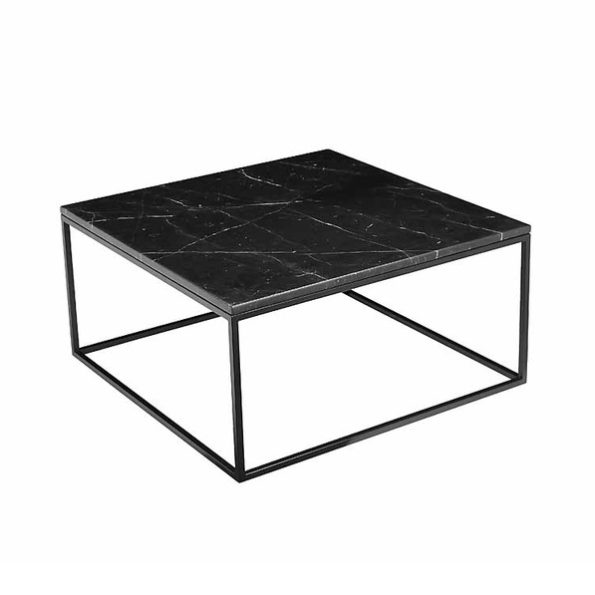 Found Square Coffee Table In Black Marble And Black Steel: Mikaza Meubles Modernes Montreal