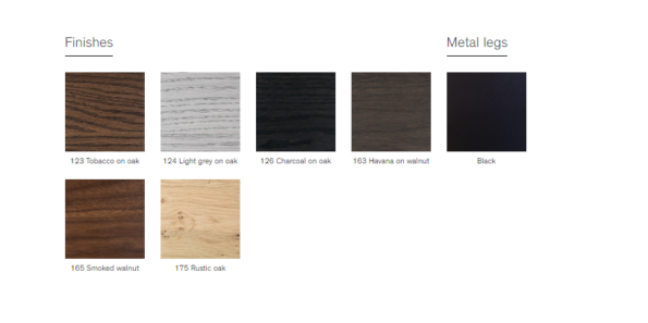Pari table with black legs swatches