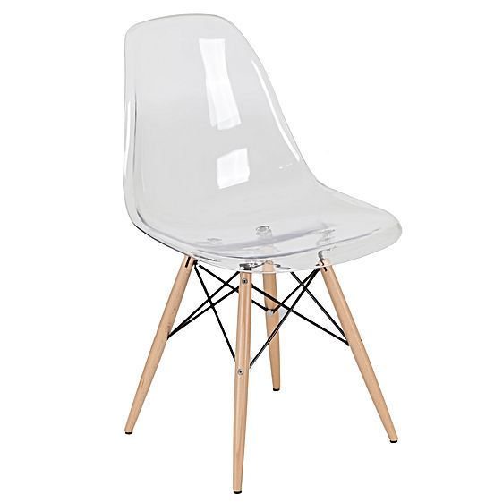 Eiffel Acrylic Shell With Natural Wood Legs