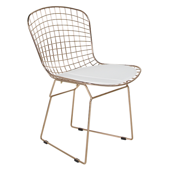 Denzel Rose Gold Bertoia chair