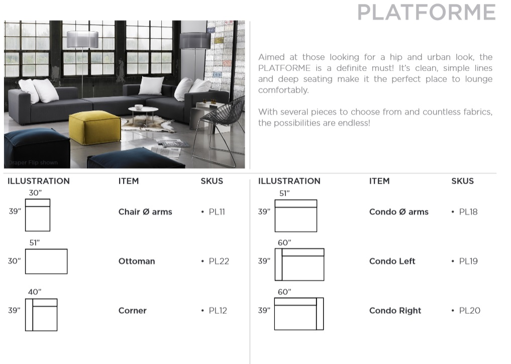 Platforme sectionelle modulaire mikaza meubles modernes for Meubles must montreal