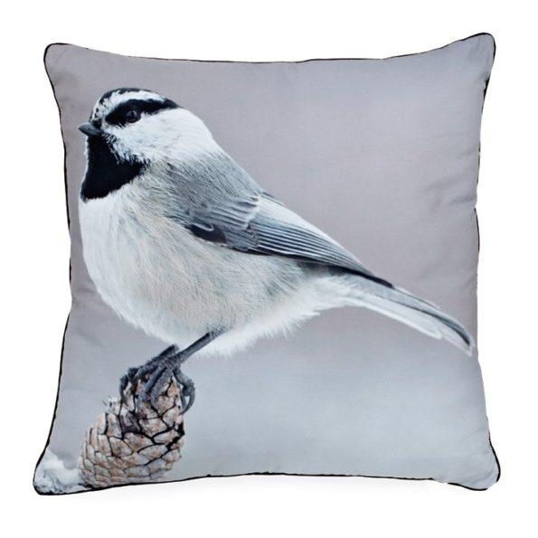 Black Cape Chickadee pillow