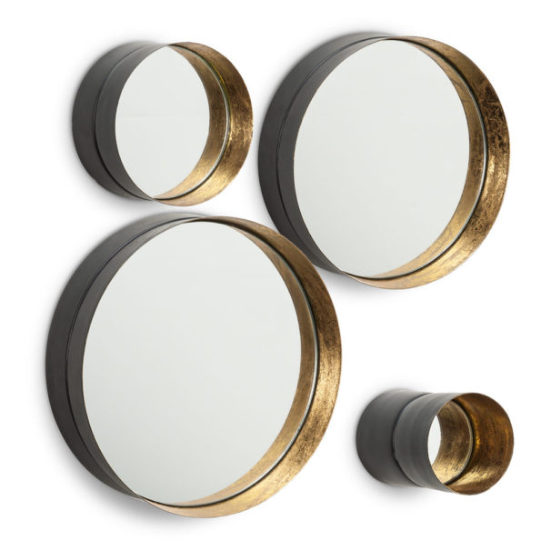 Set of 8 Round Framed Wall Art Mirror