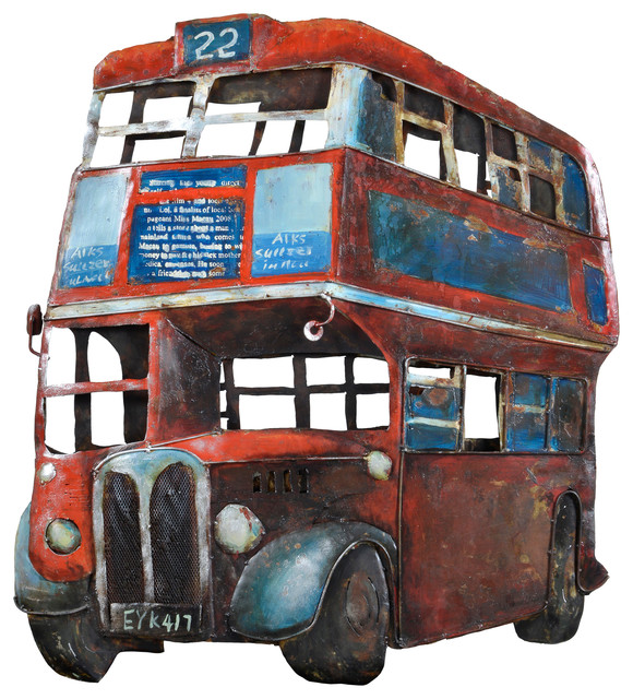 Double Decker bus metal wall art