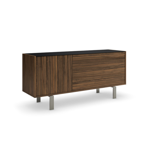 Elodi buffet (1 door & 3 drawers) with brushed nickel legs