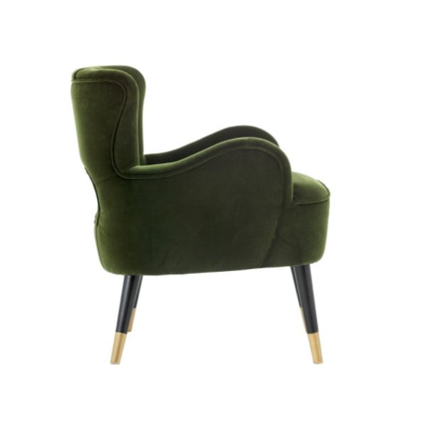 Tours accent chair cabernet green side