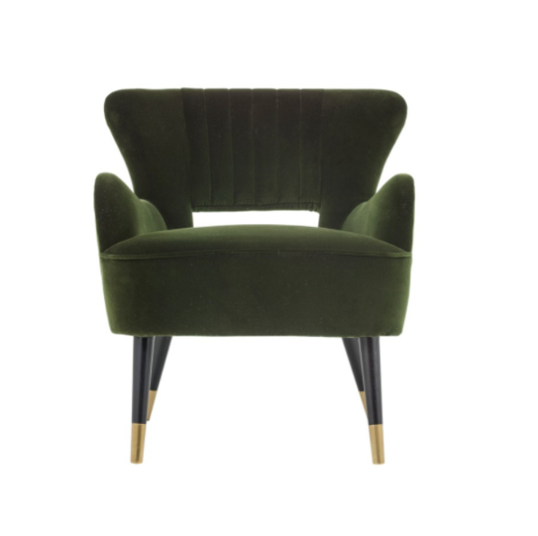 Tours accent chair green front