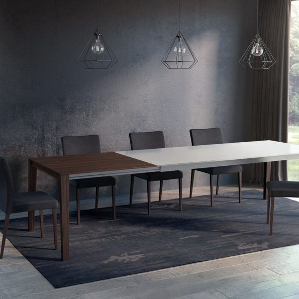 Bixi wood and glass extending table